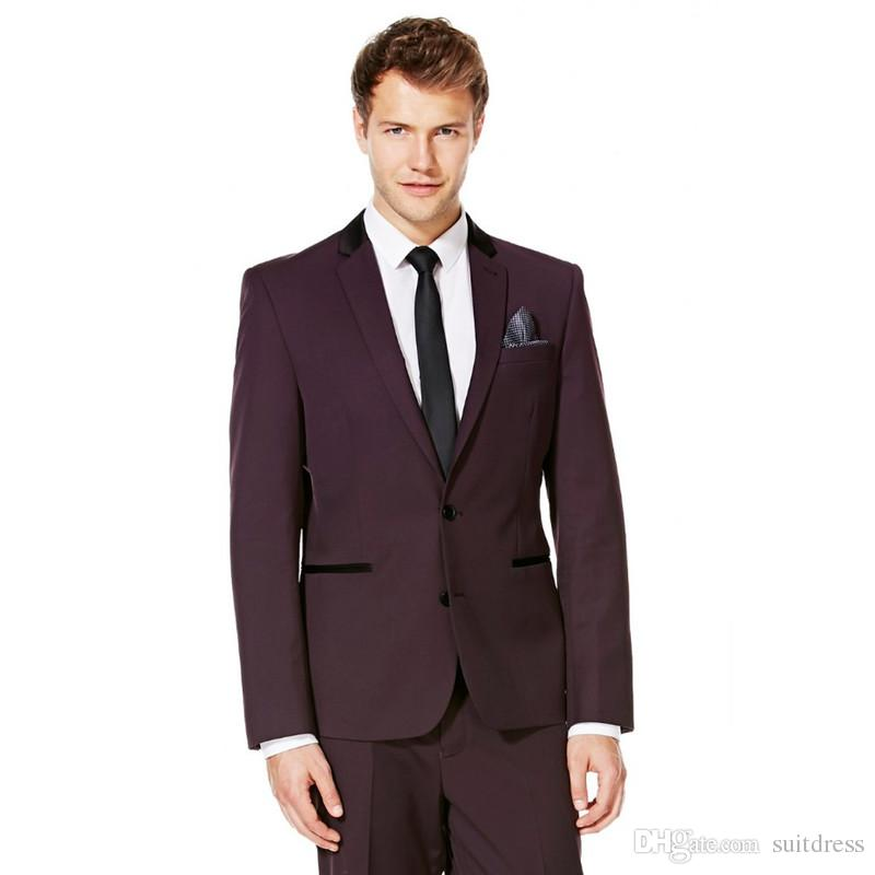 New Arrival Groomsmen Notch Lapel Groom Tuxedos Burgundy Wine Men Suits Wedding Best Man (Jacket+Pants) B897