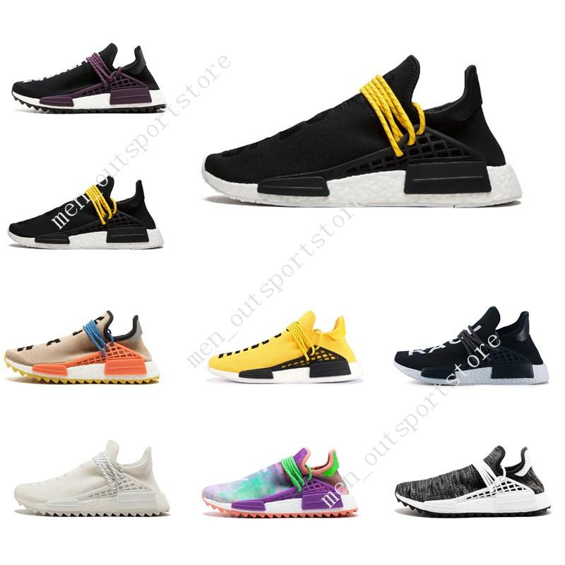 e77ae461ee460 Cheap 39-45 NMD Human Race Trail Running Shoes Men Women Pharrell Williams  HU Runner Yellow Black White Red Green Grey Blue Sport Runner Sneaker