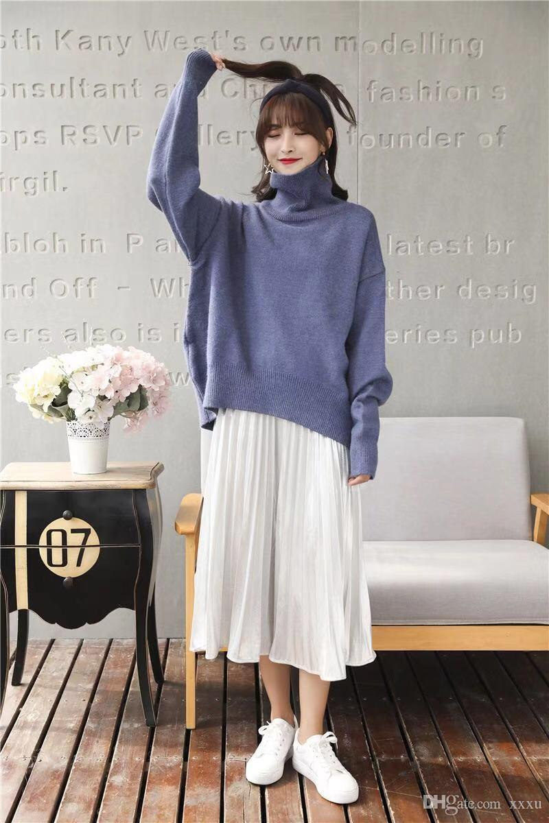 c852746f9a2 2019 Fashion Fall 2018 New Solid Color Turtleneck Bottom Sweater Sweater  Women S Loose Long Sleeve Thickened Pullover From Xxxu