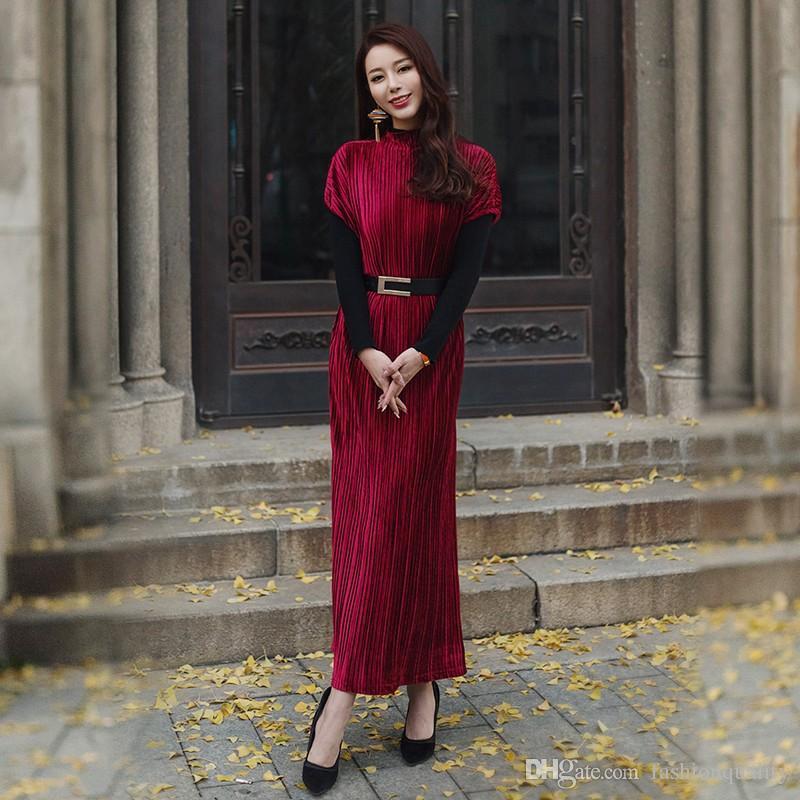 925a65b9504a Compre Vestido Vintage De Las Mujeres Vestido De Terciopelo Plisado Retro  Retro Rojo Verde 2019 Primavera Invierno Largo Elegante Maxi Vestido De  Fiesta A ...