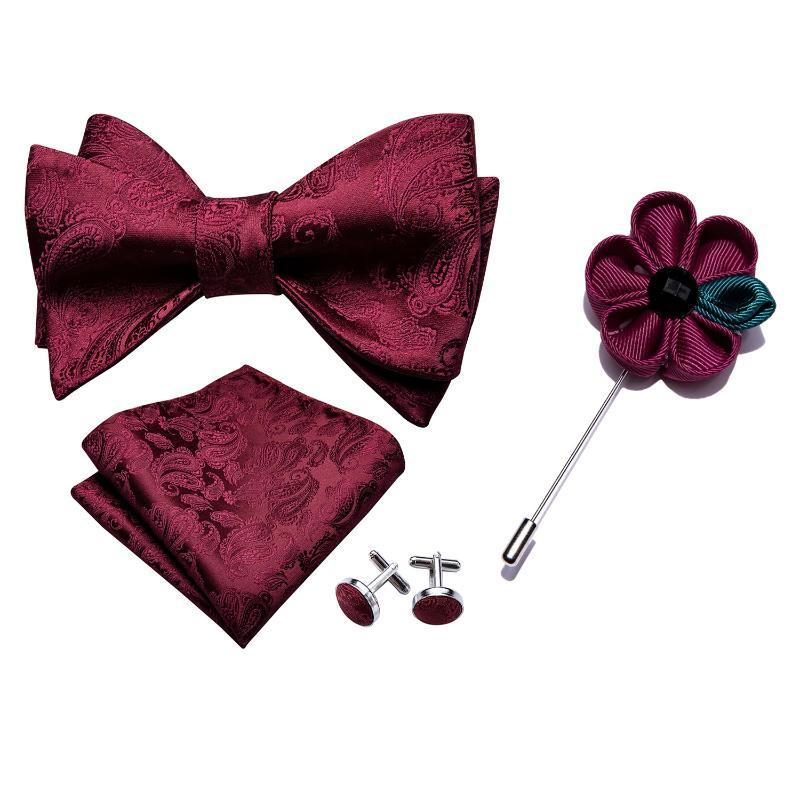 Barry.Wang Men Bowtie Red Self-tied Bows Paisley Burgundy Silk Tie Set Pocket Square Cufflinks Boutonniere for Wedding Party