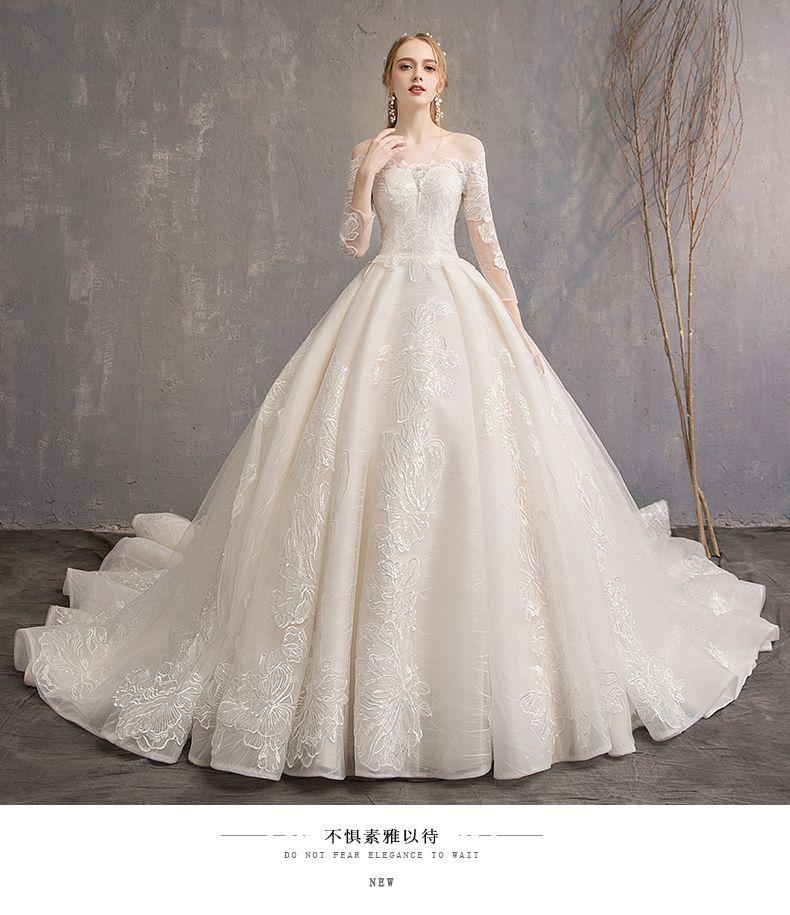 33bbe6f793116e Vestido Compre Nueva Sueño Larga Novia Princesa De Manga tQChdsr