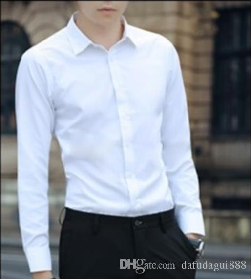 429c959b19f7e Large Size Men s Business Casual Long Sleeved Shirt White Blue Black Smart  Male Social Dress Shirt Plus