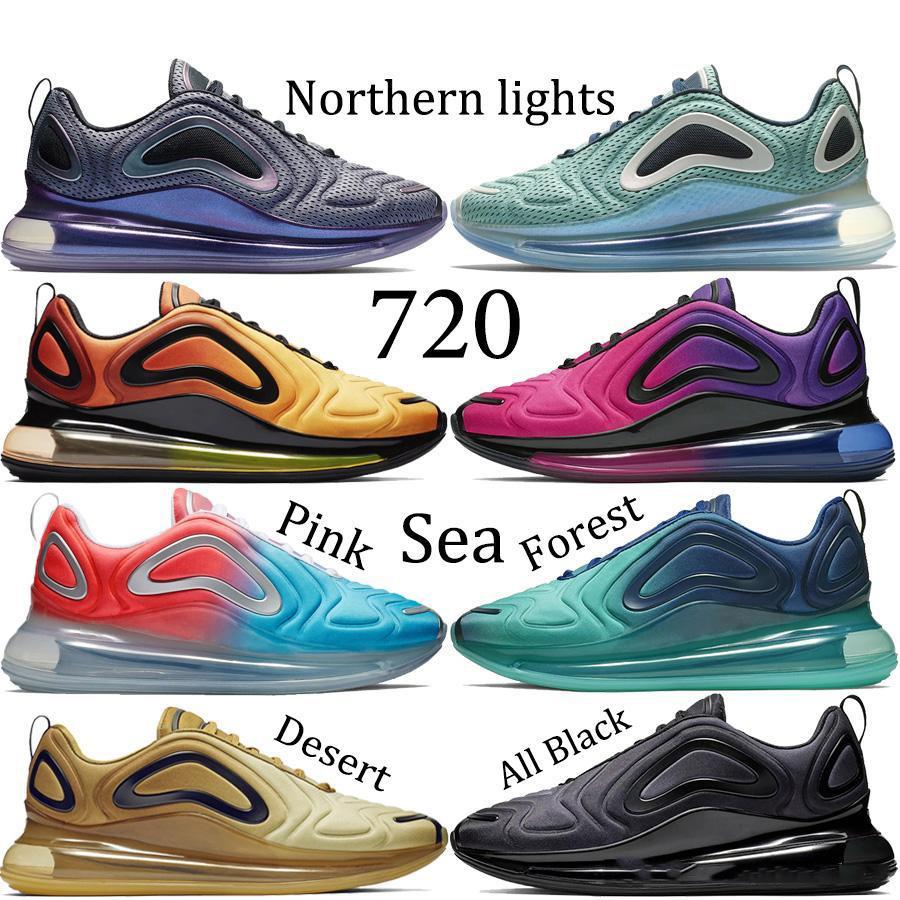 Avec boîte 2019 Nike Air Max 720 cheapcasual Chaussures Hommes Femmes Noir Or Rouge aurores boréales Lever du soleil Coucher du soleil Arc en ciel