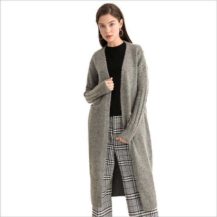 0ffa02846c1d03 2019 Autumn And Winter New Women S Solid Color Simple And Fashionable Double  Pocket Cardigan Mohair Plus Long Knit Jacket Women From Tcy949594837