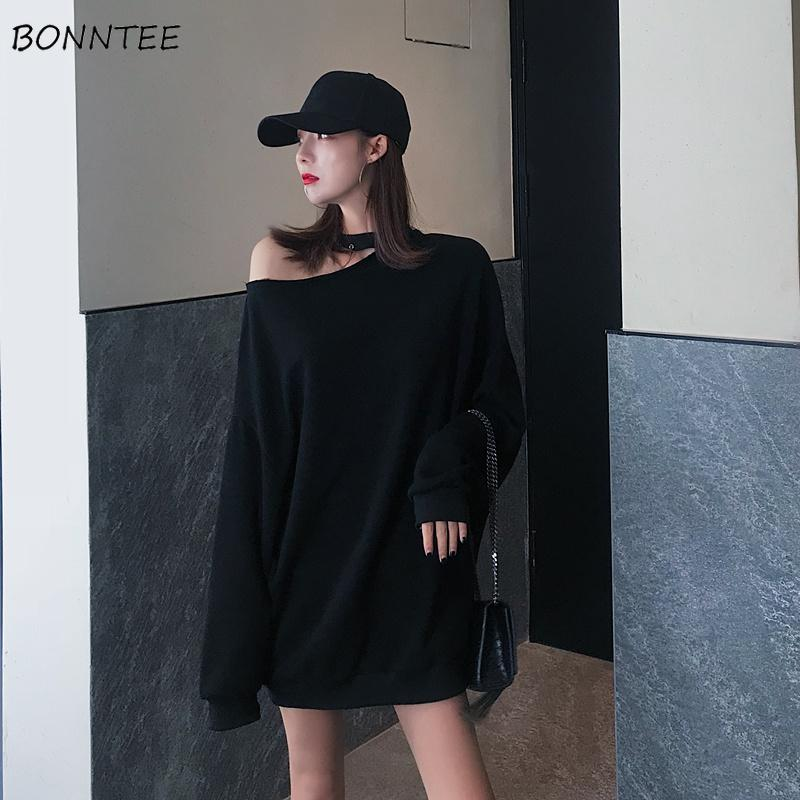 Hoodies Women Solid All-match Streetwear Off Shoulder Elegant Pullovers Korean Style Trendy Simple Clothing Womens Oversize Chic