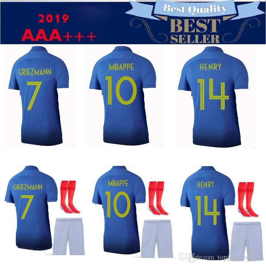 free shipping d7a61 31bc0 new arrive 100 years MBAPPE Griezmann FRANCE soccer jersey POGBA KANTE 1919  2019 DEMBELE GIROUD MATUIDI adult kit 100th football shirt