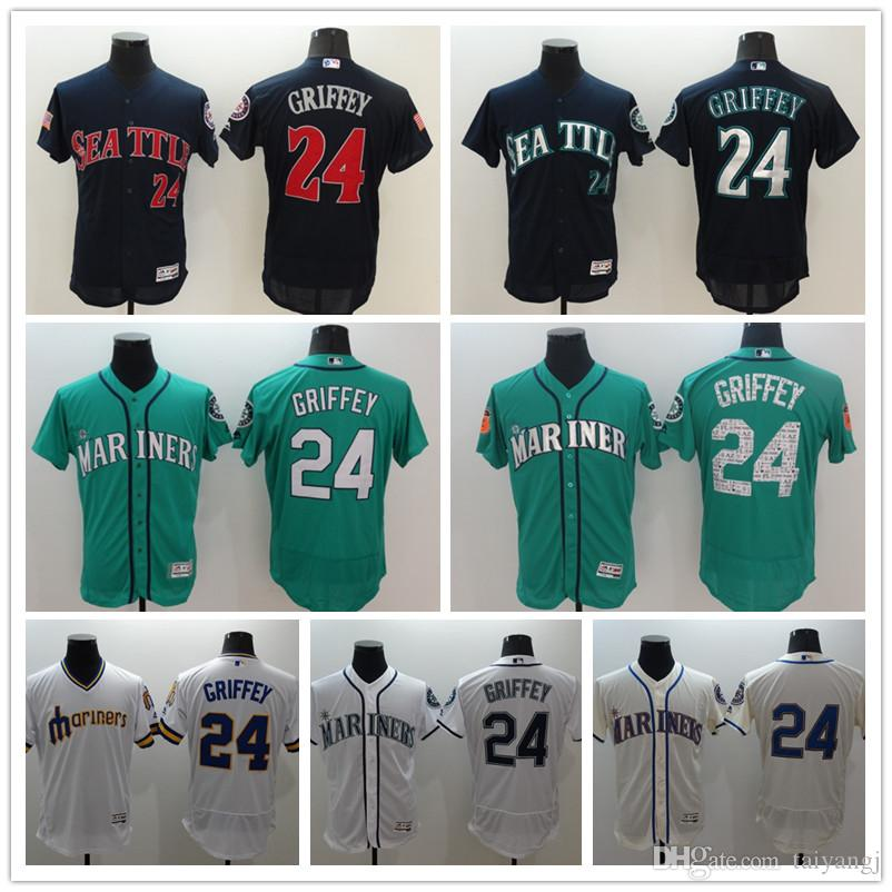pretty nice 80440 b94fc 2017 New Ken griffey jr jersey 24 Cheap Seattle Mariners 51 Randy Johnson  34 Felix Hernandez Baseball Jersey Stitched Blue Green White