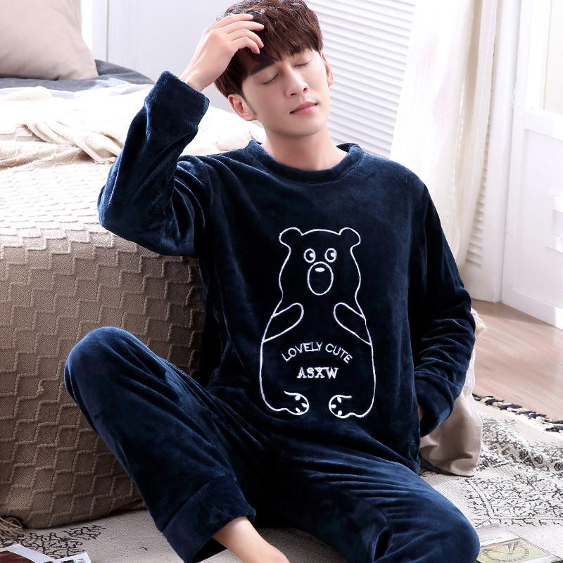 2d6720c25c 2019 Men Pajamas Set Autumn Winter Coral Fleece Thicken Flannel Warm  Pajamas Men S Long Sleeve Nightwear Top Pant Animal Pyjamas Suit From  Cutelove66