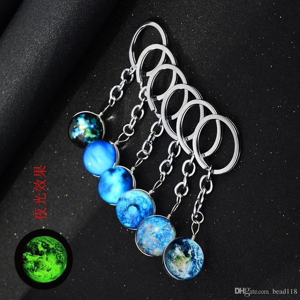 12pcs/lots Double sided Hand made Glass ball Luminous keychain Harajuku Universe Dream Noctilucent Starry sky Pendants Key Ring