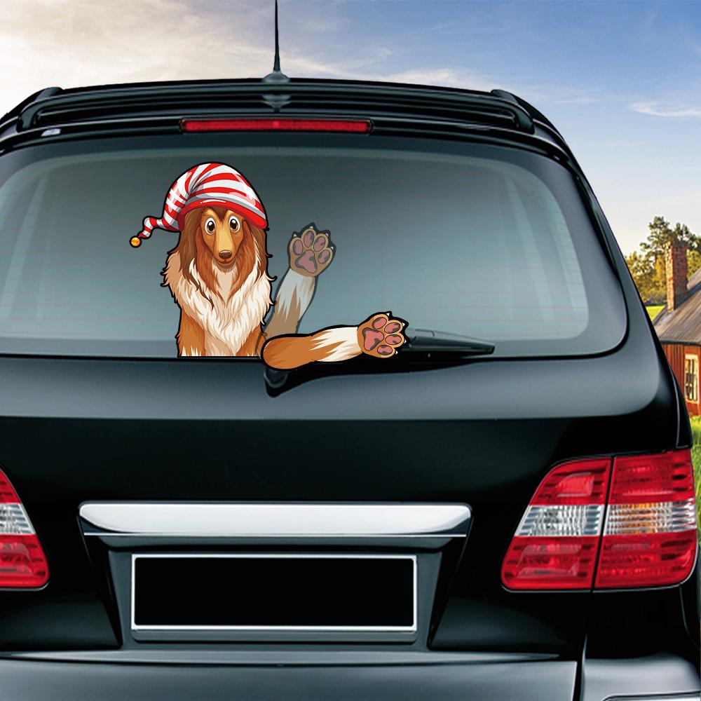 Collie waving wiper decals pvc car styling rear window wiper stickers rear windshield stickers car stickers and decals online with 22 06 piece on