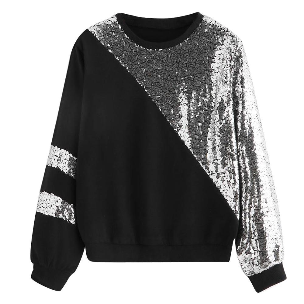 felpe donna Women Casual Long Sleeve Cut And Sew Panel Block O-Neck Patchwork black Sequins Sweatshirt Pullover tops sweat femme