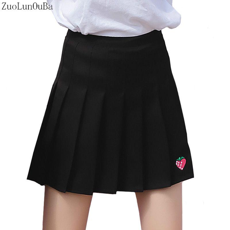 1bab1241b3 Compre Faldas Para Mujer Otoño Invierno Nueva Falda Plisada Para Mujer  Versión Coreana Bordado De Fresa Cintura Alta Una Palabra Falda Mini Tutu A   37.3 Del ...
