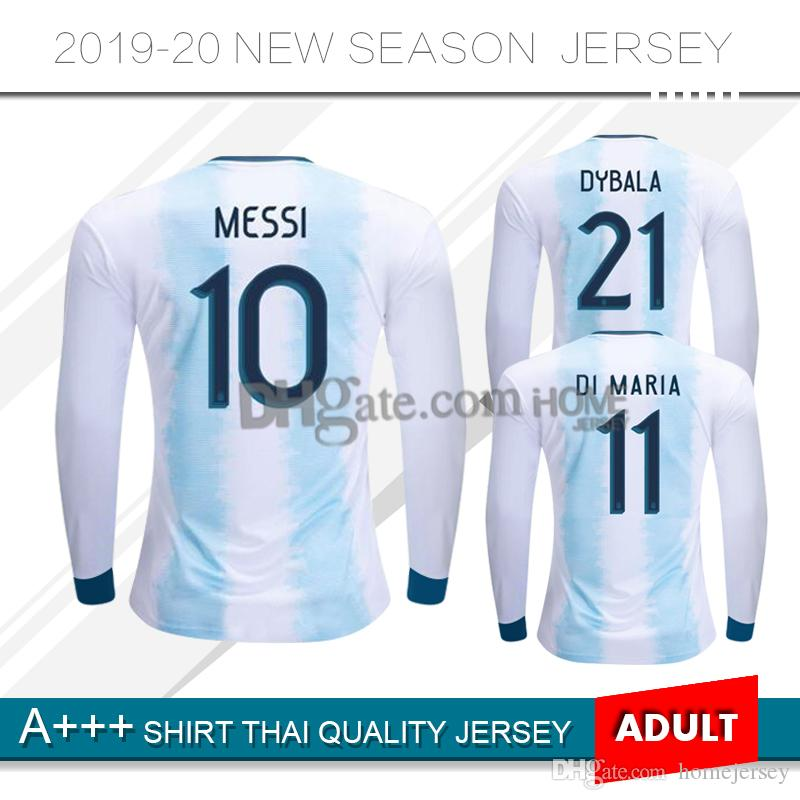 newest 510a6 37075 2019 Argentina Soccer Jersey 19 20 Argentina Long sleeve home Jersey 2020  DYBALA soccer Shirt Messi Aguero Di Maria football uniform
