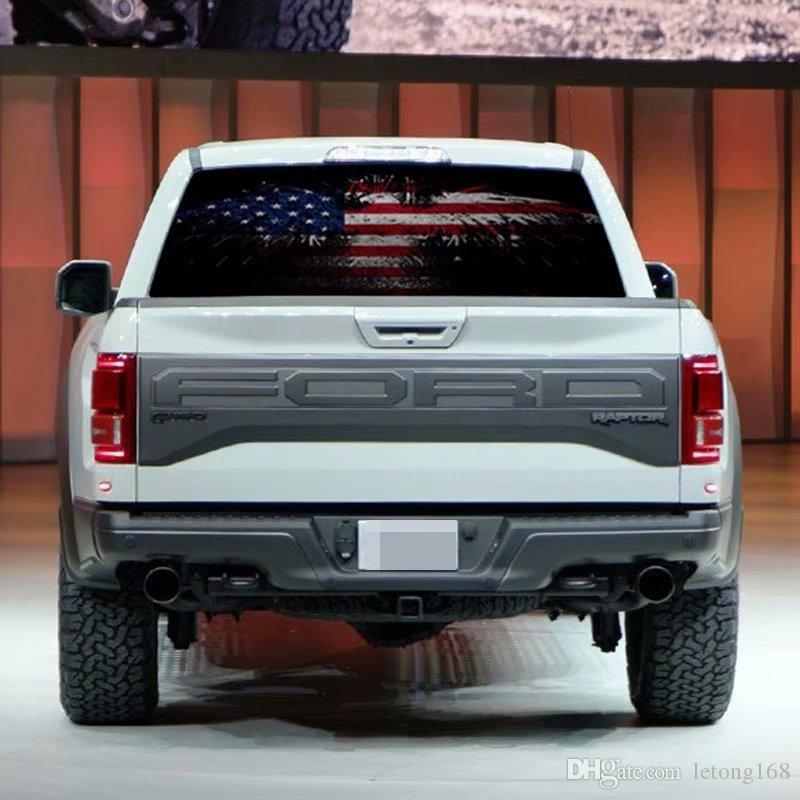 Truck Back Window Decals >> 1pc Flag Eagle Color Rear Window Decals Pickup Truck Suv Rear Windshield Auto Anti High Beam Decals