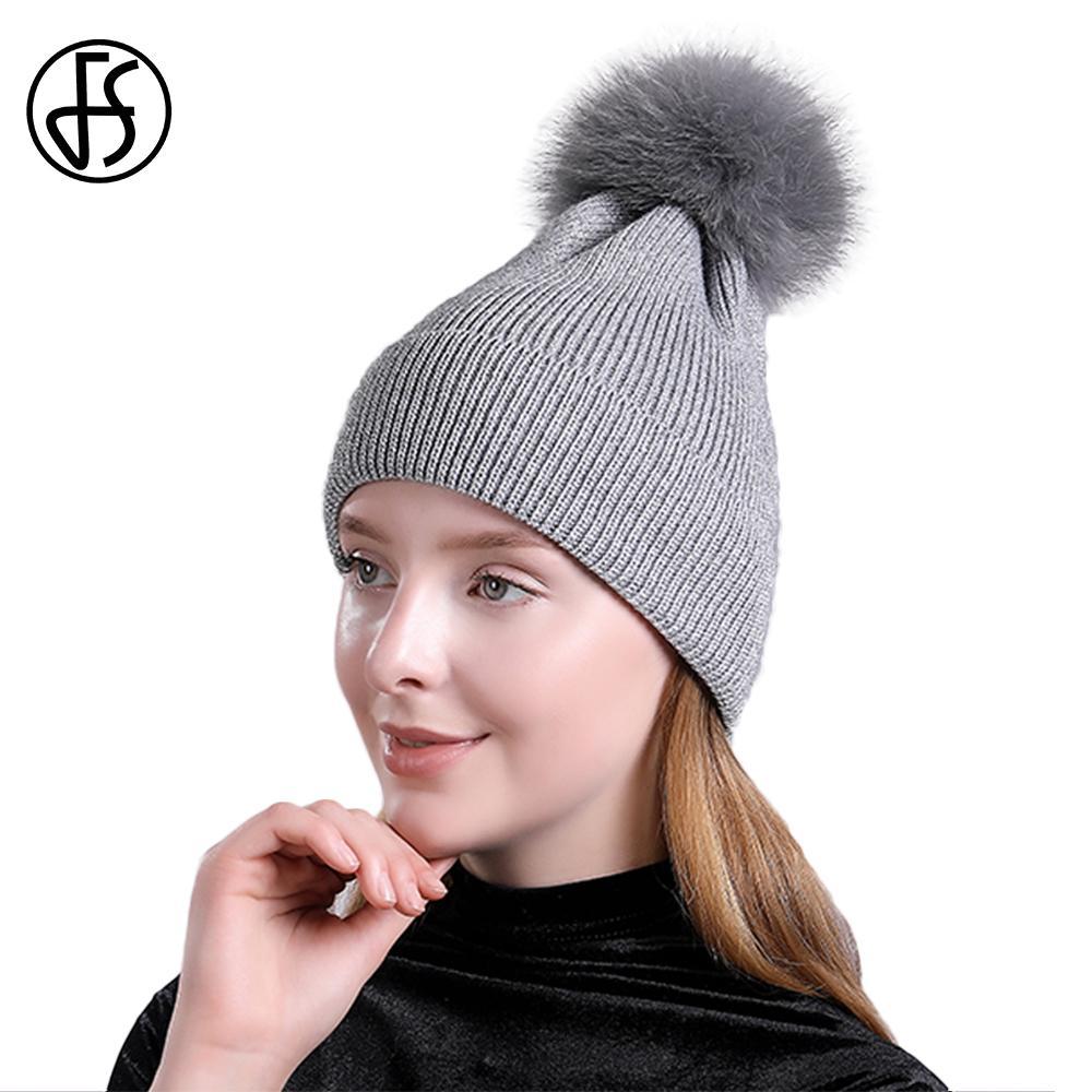 13770e7b89c FS Real Fur Pompom Hat Cashmere Knit Winter Hats For Women Solid Slouchy  Skullies Beanies Warm Hip Hop Ski Caps Female Bonnet Beanie Cap Watch Cap  From ...