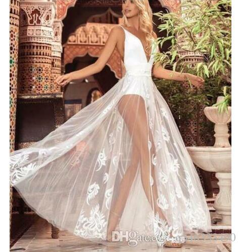 Womens Beach Sexy White Evening Party Ball Prom Gown Cocktail Long Maxi Dress