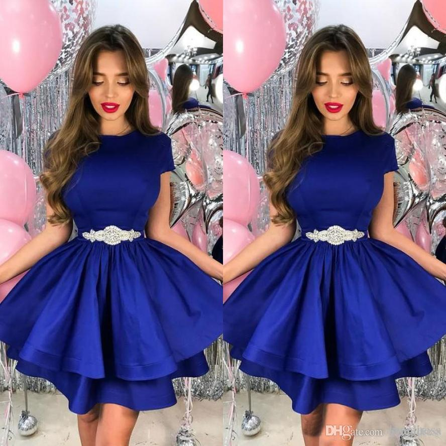 Royal Blue Tiered Homecoming Dress with Beads 2020 Sexy A-Line Jewel Neck Short Sleeves Mini Satin Party Gown Cocktail Dress Robe de soiree