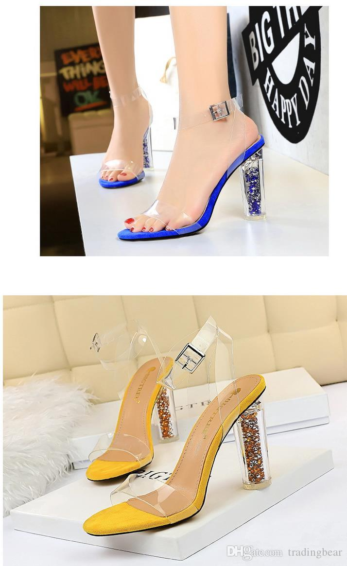 Plus size 35 to 40 41 42 43 New multi colors ankle strap transparent clear high heel shoes sexy women designer shoes