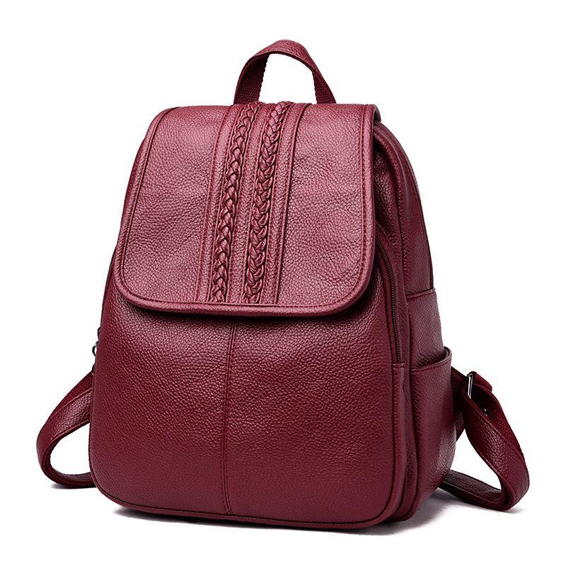 Soft Vintage Fashion Backpack Female Bag High Quality Pu Leather Backpack  Women School Bags For Teenage Girls Sac A Dos Femme Travel Backpack Cute  Backpacks ...