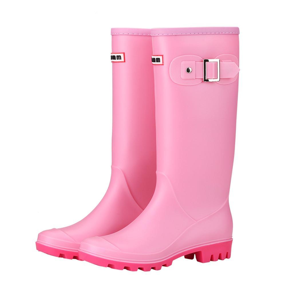 0e3476f01 Compre YOUYEDIAN Zapatos De Mujer De Moda De Invierno Com Ocio Tacón Bajo  Zapato Del Dedo Del Pie Redondo Impermeable Botas De Lluvia De Tubo Alto  Botas ...