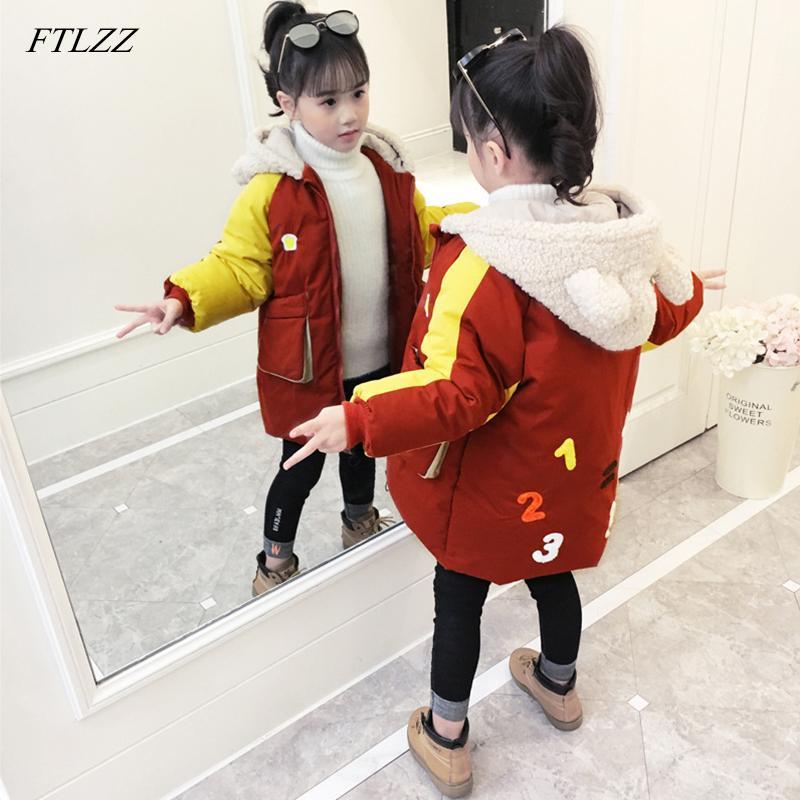 b3ef18e6c521 FTLZZ 2019 Winter Big Girl Cotton Padded Jacket Children S Coat Kids ...