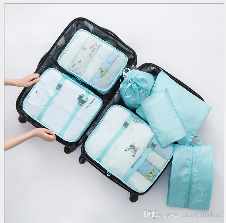 22398afd6a69 Travel Organizer set Waterproof Polyester Zipper Mesh storage Bag Set For  Clothes Pouch Luggage Container Underwear Shoe Organiser 7pcs/ set