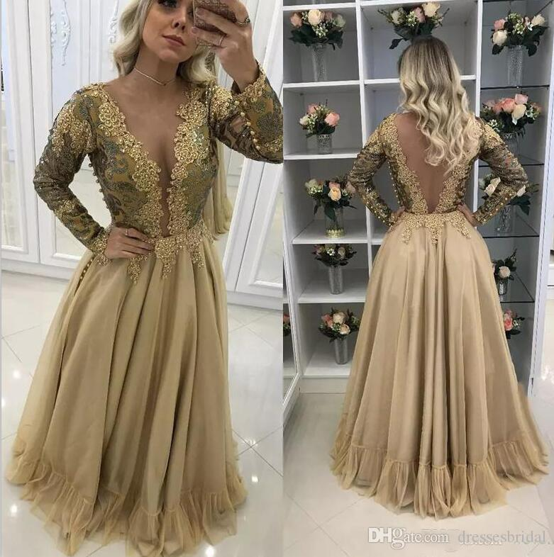 34931487579c 2019 V Neck Beads Pleats Prom Dresses Appliques Long Sleeve Pearls ...