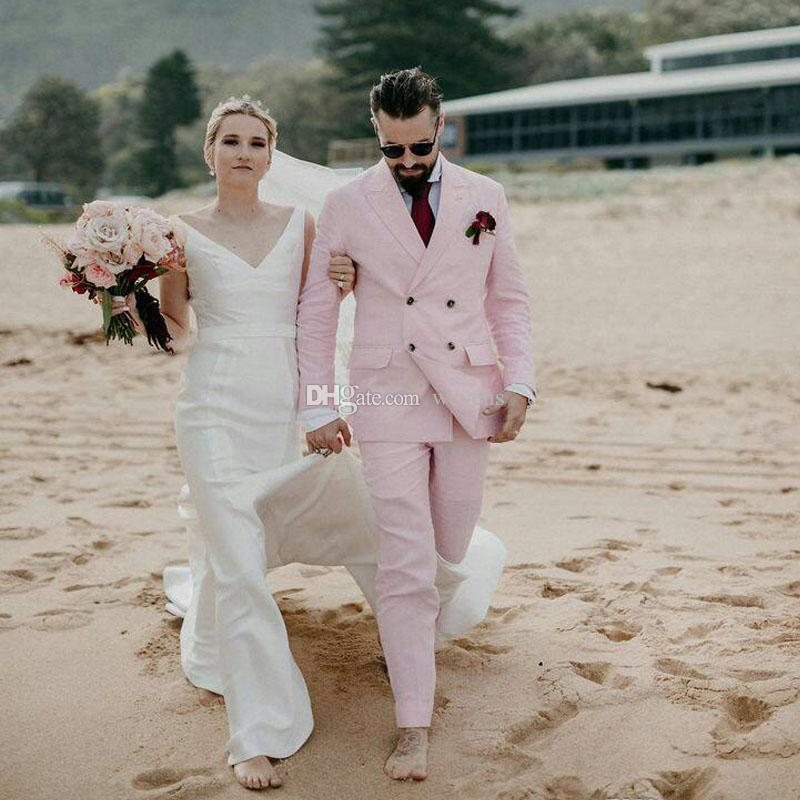 Cheap Light Pink Double Breasted Wedding Tuxedos Peaked Lapel Slim Fit Groomsmen Wear Tailor Blazer and Pants for Prom Clothing