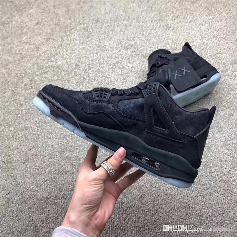 91e1a86b492c 2019 2018 Limited 4 XX Kaws Cool Grey 4S IV BlacK Basketball Shoes For Men  Suede Authentic Quality Sneakers With Original Box 930155 001 From  Fashiontina
