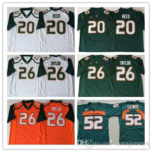 reputable site c4151 a2c2a Miami Hurricanes College Football Jerseys Sean Taylor 20 Ed Reed 52 Ray  Lewis R.Lewis University Football NCAA Shirts