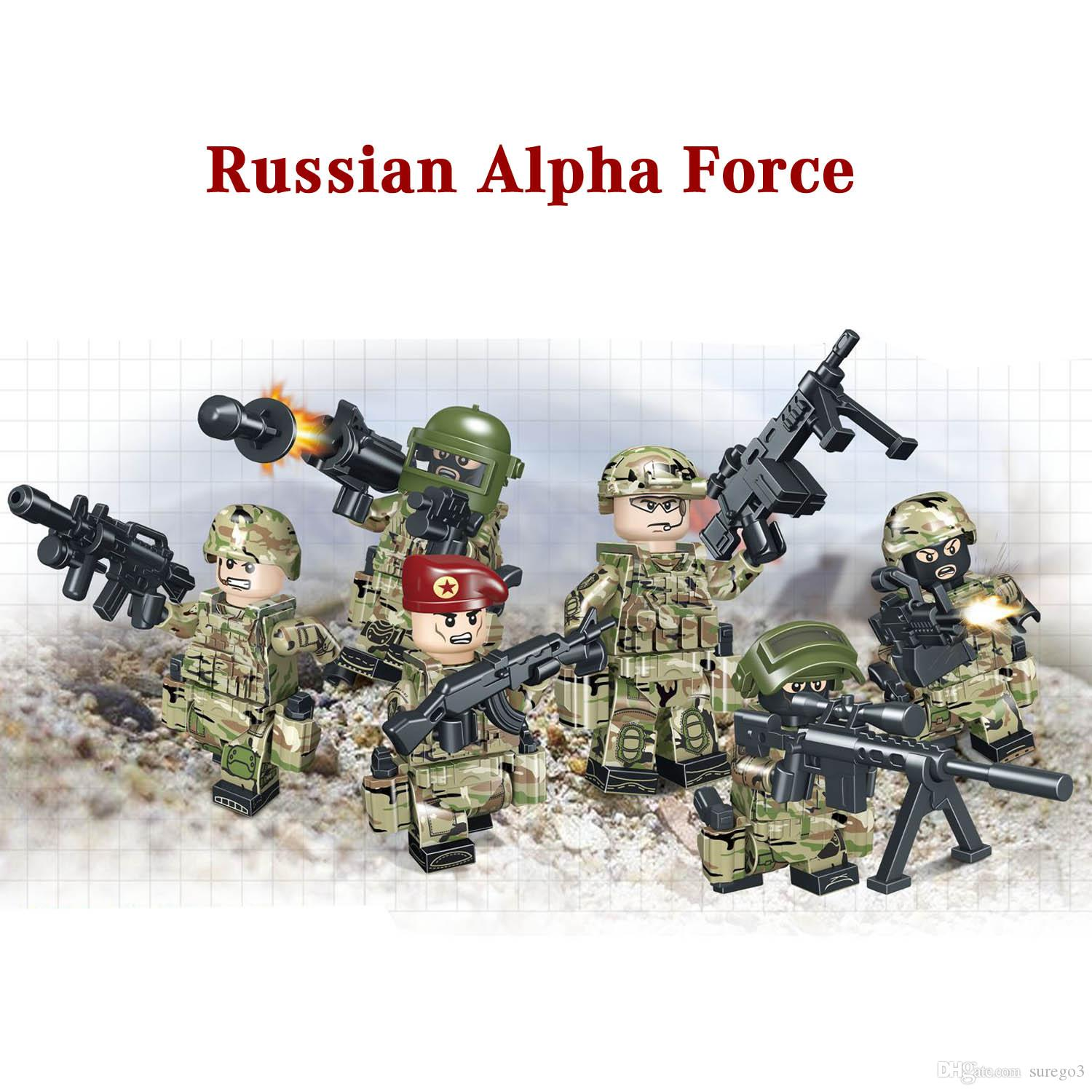 Educational Russian Alpha Force Army Building Block Toy Mini Military Soldier Figure Set Brick Toy for boy and kid