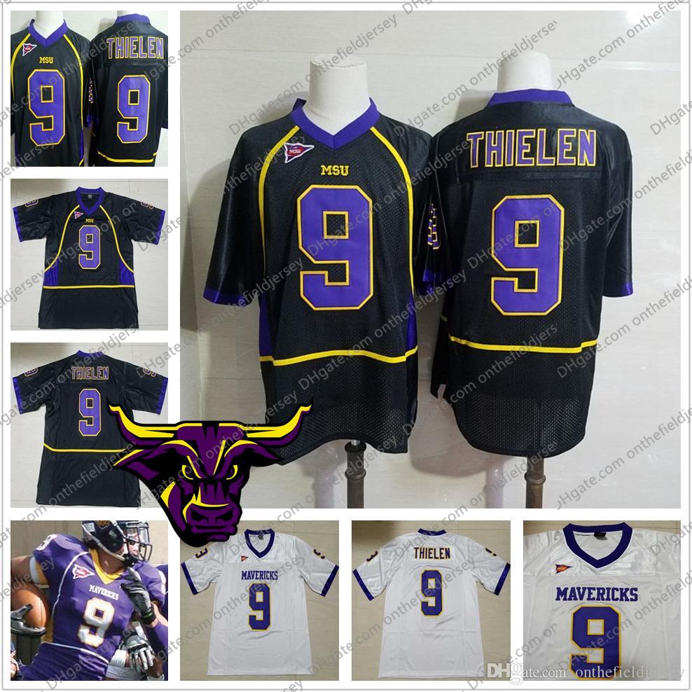 f1da2ba7ff Compre MSU Mavericks   9 Adam Thielen Preto Branco Roxo Minnesota Estado Do  Vintage Jerseys NCAA Colégio Camisas De Futebol Das Mulheres Dos Homens ...