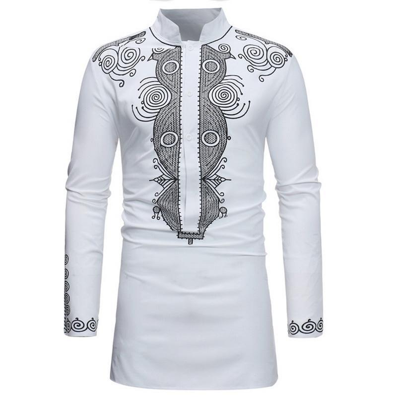 699fd4071a Compre SHUJIN Tallas Grandes Hombres Camisa Blanca De La Vendimia Moda  Clásica Estampado Floral Ropa Para Hombre Casual De Manga Larga Para Hombre  Camisas ...