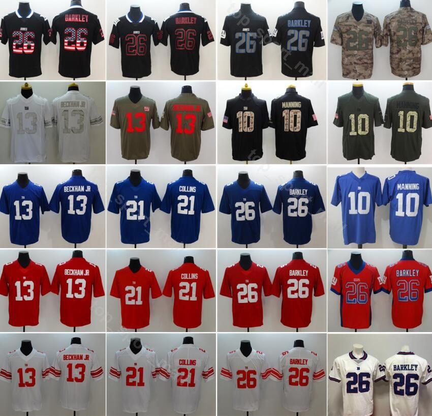 newest 94bba ff271 New York Football Giants 26 Saquon Barkley Jersey Men 10 Eli Manning 21  Landon Collins Vapor Untouchable Uniform