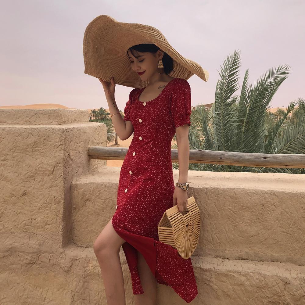 4318abdbf Flectit Vintage años 80 vestido estilo francés lunares con botones Midi  vestido manga corta de soplo de talle alto Retro vacaciones mujeres