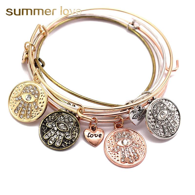 Fatima Hamsa Hand Crystal Bangles Bracelet Adjustable Expandable Wire Bangle LOVE Heart Charm For Women Pulseira Jewelry Gifts