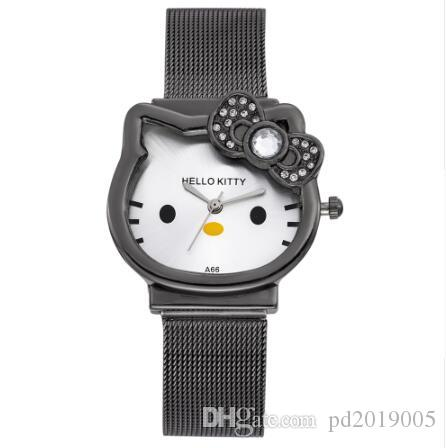 83f9ad317 Cat Quartz Hello Kitty Watch Women Luxury Fashion Lady Girl Silver  Stainless Steel Net Band Cute Wristwatch Crystal Hour Gold Watches Online  Skeleton Watch ...