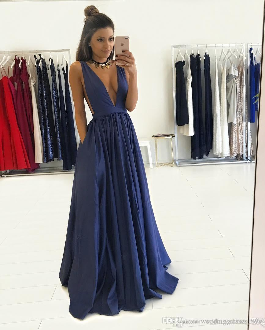 e2f7017897c97 Gorgeous Long V-Neck Dark Navy Prom Dresses with 2018 Sleeveless ...
