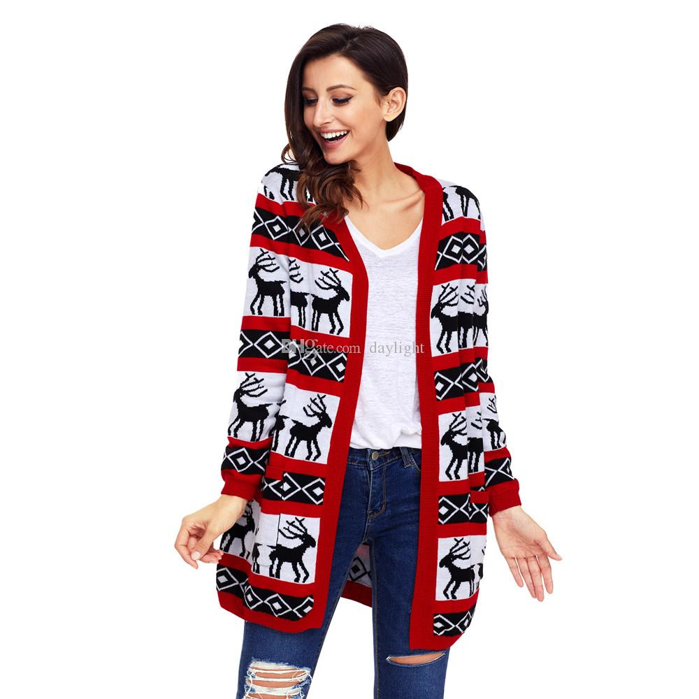 Cardigans Womens Oversized Christmas Reindeer Cardigan Print Knitted Sweater Striped Sweater Oversized Full Sleeve Girls New