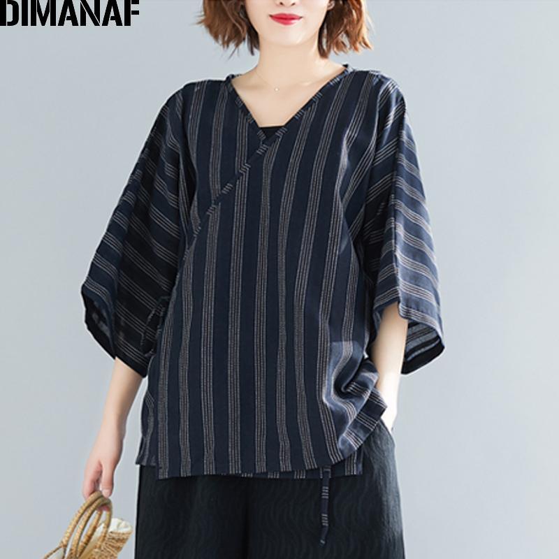94ea9147590 DIMANAF Plus Size Women Blouse Shirt Vintage Summer Lady Tops Tunic ...