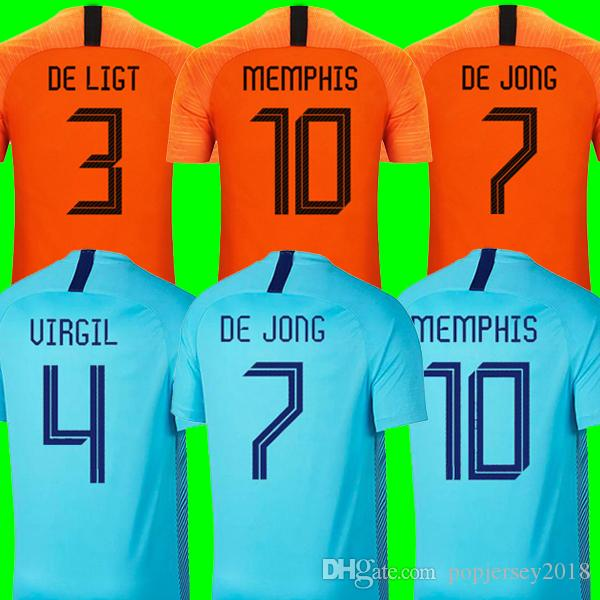 factory price d1588 ffa44 2019 2020 Netherlands soccer jerseys DE JONG Holland football kits shirt DE  LIGT VAN DIJK VIRGIL jersey STROOTMAN MEMPHIS PROMES football