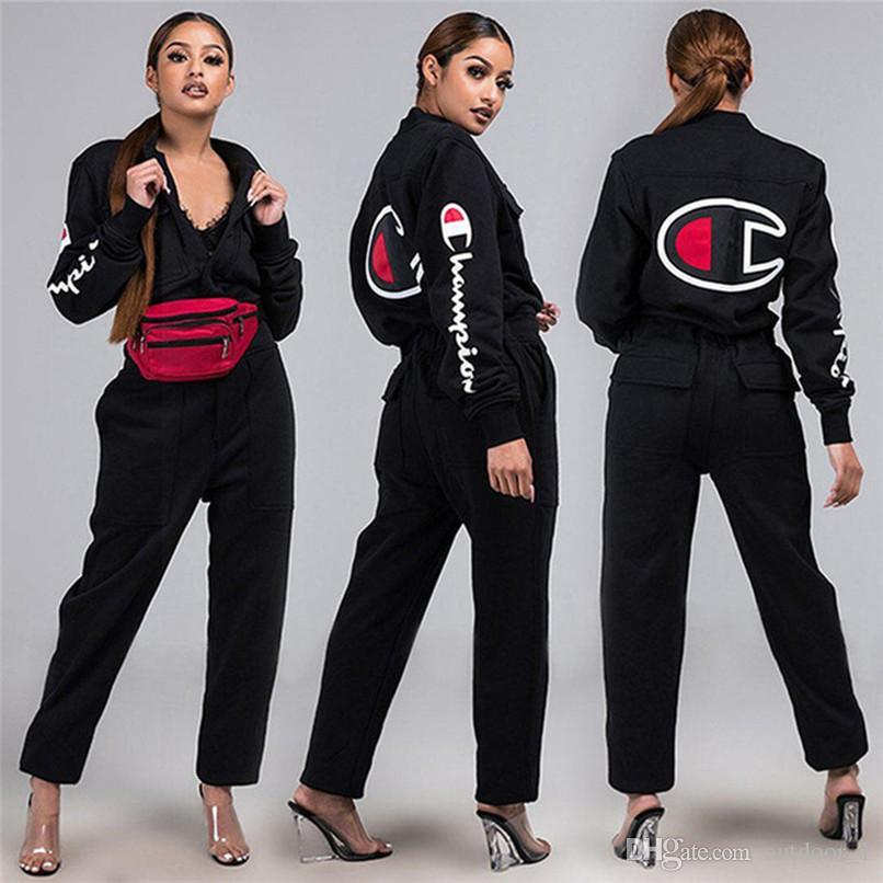 Champions Women Jacket+Pants 2 Piece Set Outfits Black Letter Print Coat+Straights Tracksuit Outerwear+Trousers Sports Suit HOT Selling 1245