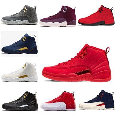 7e7804c1407661 Mens 12s Basketball Shoe Gym Red Michigan Bordeaux 12 Navy Bulls Flu ...