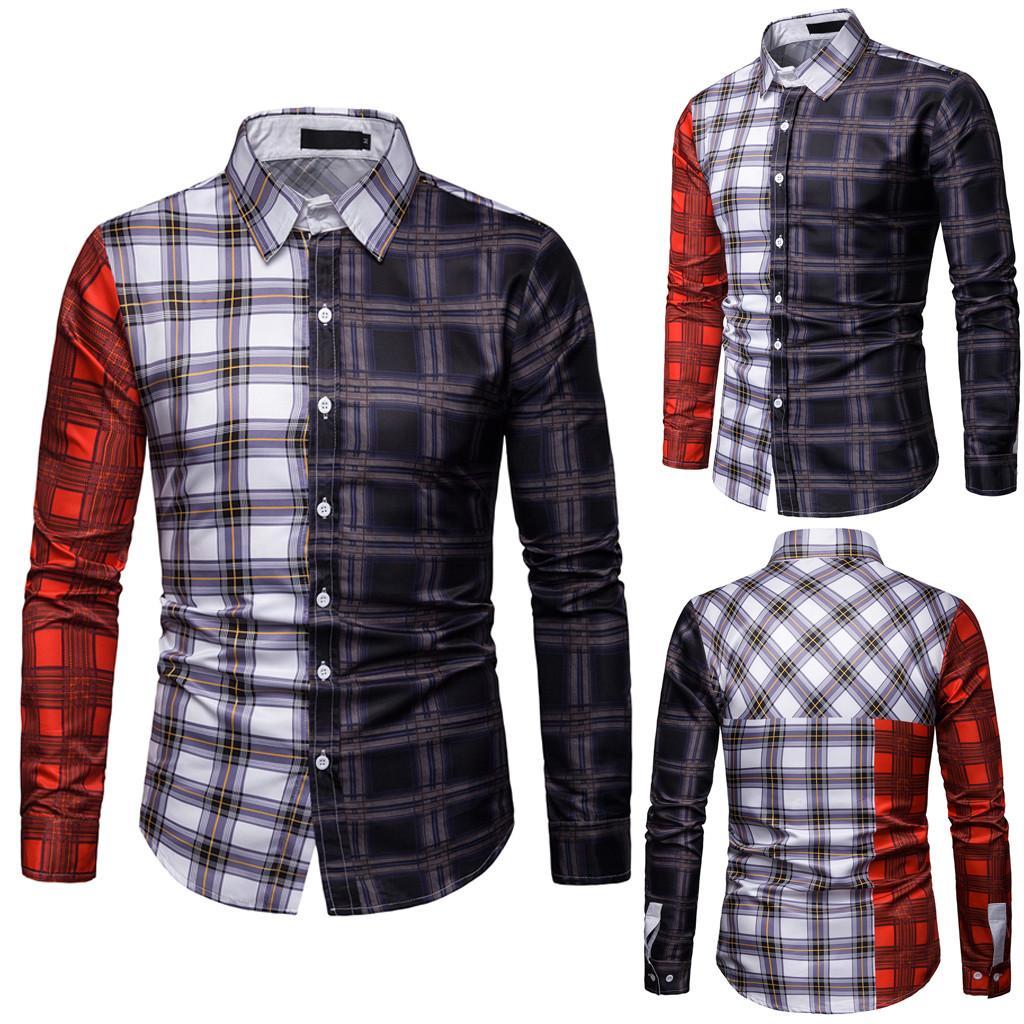 7b32a1d30 Camisas a cuadros hombres top camisa casual vestido patchwork Streetwear  ropa para hombre camisa de manga larga hombres tops camisa hombre 2019