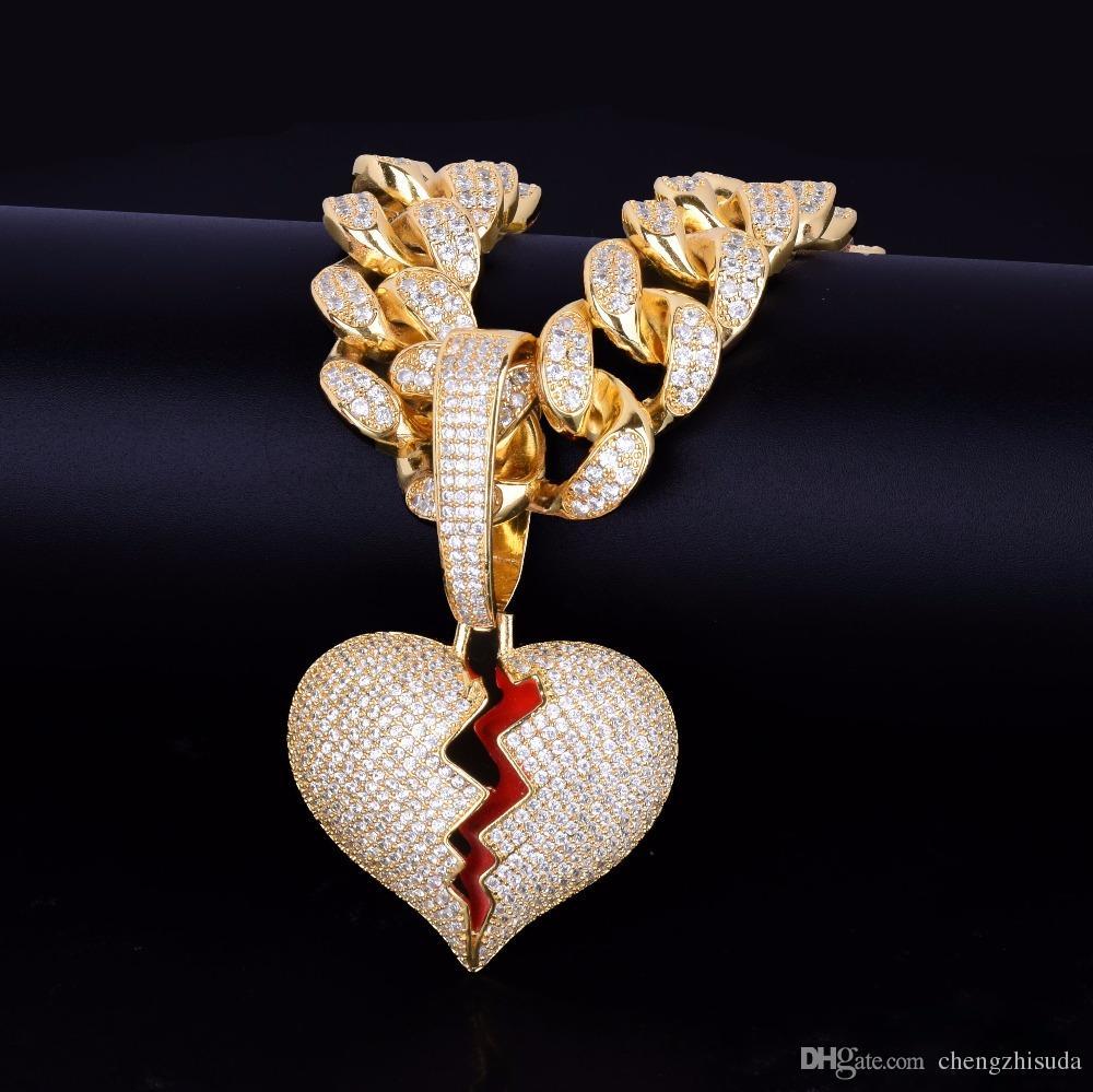 rechercher les plus récents les ventes en gros femme 20 MM Cubain Chaîne Or Argent Cassé Coeur Pendentifs Colliers Bling Zircon  Hommes Femmes Hip Hop Bijoux