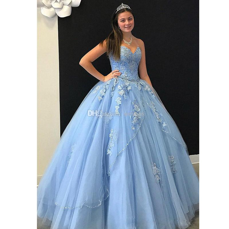 Sky Blue Ball Gown Quinceanera Dresses Sweetheart Corset Back Tiered Skirt Sweet 15 Dress Tulle Bead Sequined Girls Birthday Party Gown