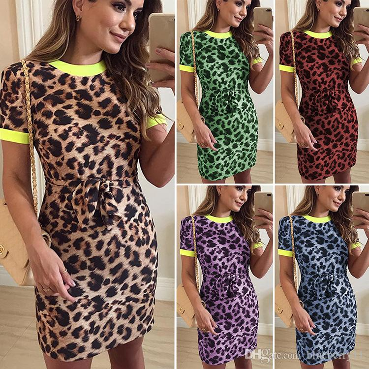 Mulheres manga curta dress sexy leopardo impressão o pescoço bandage summer dress feminino party club bodycon mini dress