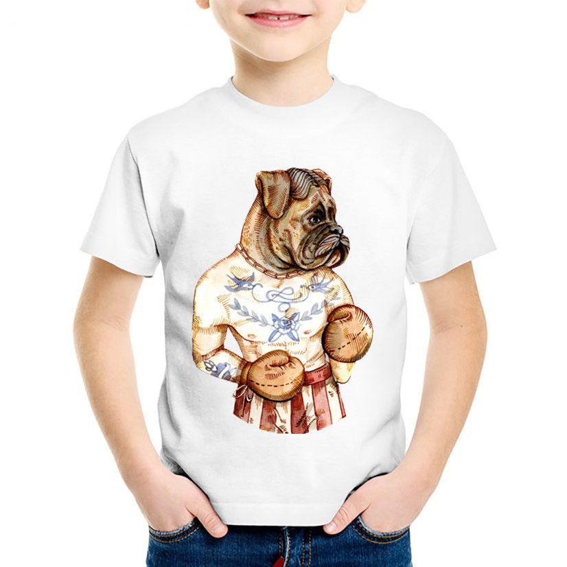 74246d95c 2019 Children Fashion Print Puglism Strong Boxer Cat Dog Funny T ...