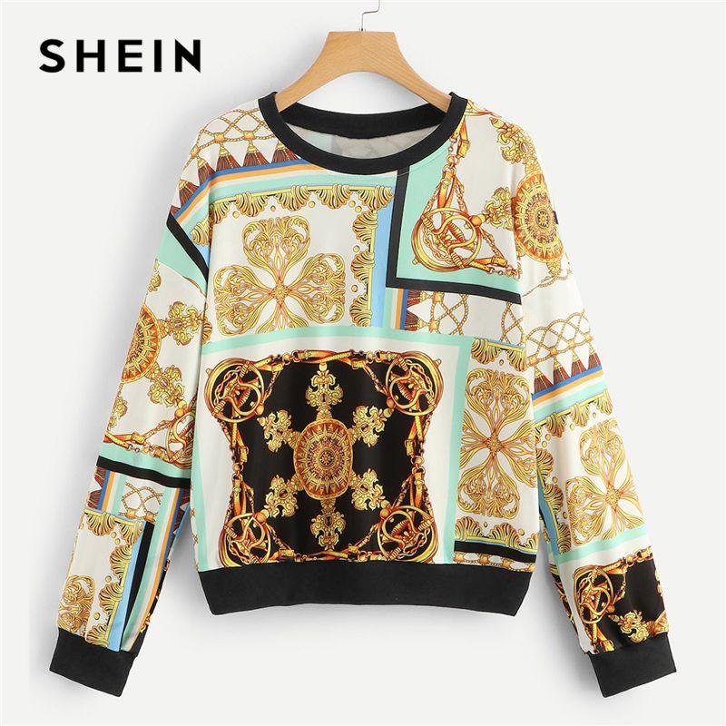 daa5f897dc 2019 SHEIN Multicolor Drop Shoulder Graphic Sweatshirt Casual Round Neck Long  Sleeve Pullover Tops Women 2019 Spring Sweatshirts From Benedica, ...